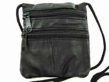 SOFT NAPPA LEATHER MINI NECK PURSE IN BLACK WITH LONG CORD STRAP UNISEX NEW