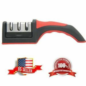 3 Stage Knife Sharpener Steel Diamond Ceramic Coated Kitchen Sharpening Tool US