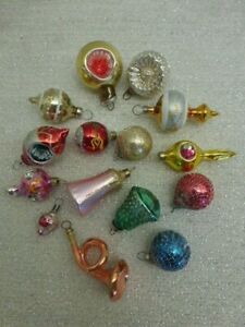15 Vintage Mid Century Christmas Glass Feather Ornaments Indents Wire Wrapped +