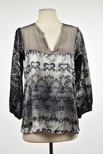 NEW Tucker Womens Top Size M Gray Taupe Blouse Silk Floral Casual Shirt