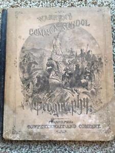 1872 GEOGRAPHY ATLAS,D.M.WARREN SCHOOL,33 COLOR MAPS,65 ILLUSTRATIONS
