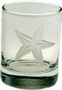 """Starfish Glass Votive 2.5""""H Candle Holder Tealight Nautical Barware Cup or Decor"""