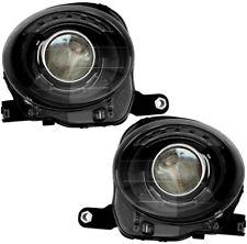 Headlights Headlight Assembly w/Bulb Black Trim NEW Pair Set For 12-17 Fiat 500