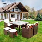 9pcs Outdoor Rattan Dining Set Dining Chair Table Patio Garden Furniture Set