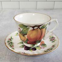 Vintage CROWN TRENT China Tea CUP & SAUCER Peach Peaches England