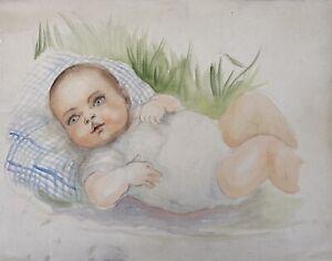 Charlotte Zurek 1910-1971 Portrait Baby Liegt IN Grass Girl Meadow Art Deco 30er