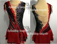 Ice Figure Skating Dresses Custom Women Competition Skating Dress red black