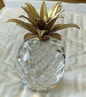 """Swarovski Pineapple Figurine. Gold Plated Leaves 4.25x2.25"""" Vintage"""