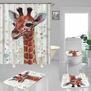 Cute Giraffe Art Shower Curtain Bath Mat Toilet Cover Rug Bathroom Decor