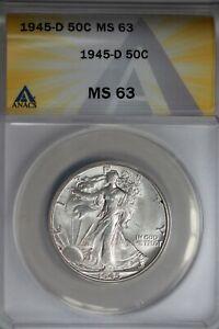 1945-D  .50   ANACS   MS 63   Walking Liberty, Half Dollar, Lady Liberty Half