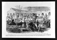 Leslie Civil War Print Locomotives Built at Vicksburg Mississippi Railroad Train