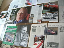 JOHN SURTEES  Reports articles interview pictures card  F1  Sportscars biog etc