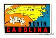 State of North Carolina Vintage Style Travel Decal, Vinyl Sticker, Luggage Label