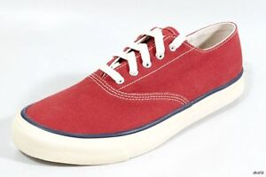 SPERRY Top-Sider mens dark red canvas 7 Striper lace-up boat shoes new