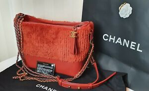 Chanel Gabrielle Red Hobo Shearling and Leather Silver/Gold/Ruthenium Hardware
