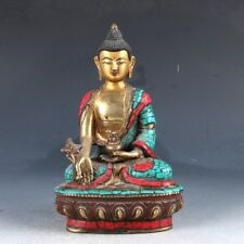 Chinese copper Turquoise Enamel Color Whiteness Statue