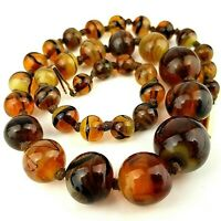 Vintage Amber Swirl Glass Bead Necklace 9ct Gold Clasp