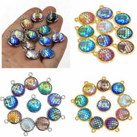 10pcs Resin Metal Mermaid Fish Scale Charms Pendant Jewelry Necklace DIY 12mm