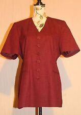 NEW C&A Longer Thigh Length Short Sleeved Dress Jacket Claret Wine Lined UK 14