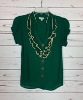 Odille Anthropologie Women's Size 2 Green Ruffle Short Sleeve Spring Top Blouse