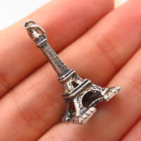 925 Sterling Silver Vintage Eiffel Tower Design Charm Pendant