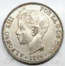 ESPAÑA ALFONSO XIII 1898 *18-98 SGV 5 PESETAS MONEDA PLATA MBC+