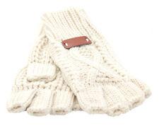 Aran Traditions Womens Ladies Winter Warm Fingerless Cream Gloves