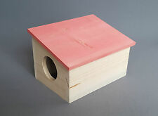 Wooden House RedRoof for Hamster Home Cage Gerbils Small Rodents Animals
