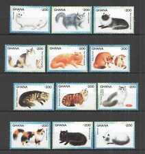 A0177 GHANA FAUNA PETS DOMESTIC ANIMALS CATS !!! FULL BIG SET mnh