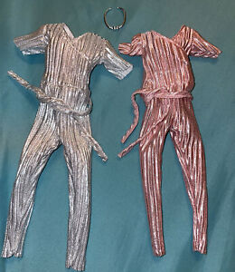 2 Simba Doll Clothes - Metallic Silver Pleated Jumpsuit fits Barbie Curvy Doll