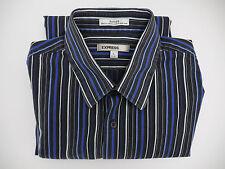 Express IMX Mens Fitted Striped Long Sleeve Shirt, Black/Blue Stripes Lg- J791a