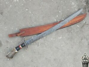 Custom Handmade Damascus Steel Stunning Stag Handle Sword