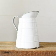 White Distressed Farmhouse Tin Pitcher