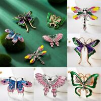 Women Crystal Dragonfly Butterfly Animal Brooch Pin Boutonniere Jewelry Party