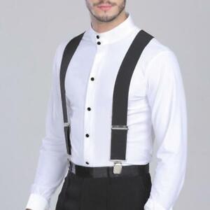 50mm Width Men Trouser Braces Suspenders X-Shape Metal Clips Elastic Adjustable