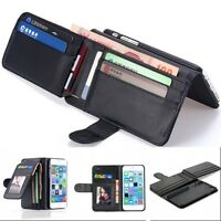 PU Leather Wallet 9 Credit Cards Photo Frame Case For iPhone 8 7 6S Plus 5S SE 4