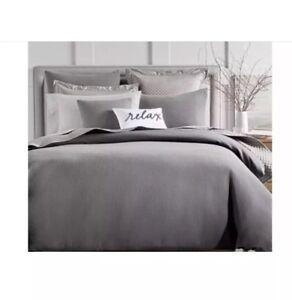 CHARTER CLUB Damask Designs Gray 100% Cotton 3-PC KING DUVET COVER SET MSRP $290