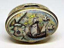 Staffordshire Enamels Box - Map & Sailing Ships - Christopher Columbus - America