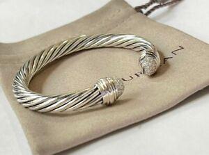 David Yurman 925 Silver 7mm Cable Classic Pave Diamond Cuff Bracelet Small