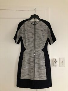 EUC Phillip Lim Colorblock Linen Dress Sz 2 grey black short sleeve belted New