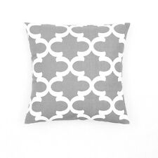 Gray White Quatrefoil Accent Cotton Canvas Decor Throw Cushin Cover Pillowcase