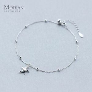 Women Anklet Chain With Layered Beads And Starfish Charms 925 Sterling Silver