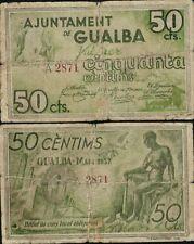 50 céntimos. Ayuntamiento de Gualba. Barcelona. Mayo de 1937. Serie A. Nº 2871.