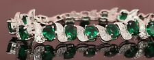 14k White Gold Enhanced 5.5ct Emerald Diamond Oval Cut Italy Bracelet, 7 inches