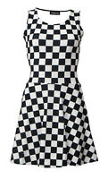 Monochrome Checkered Checkerboard Chess Check Square Vintage Rockabilly Dress