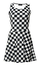 Monochrome Checkered Checkerboard Chess Check Square Vintage Rockabilly Dress