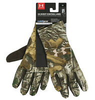 UNDER ARMOUR Women's Scent Control Liner Gloves sz L Large RealTree Xtra Brown