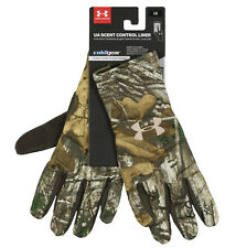 UNDER ARMOUR Women's Scent Control Liner Gloves sz M Medium RealTree Xtra Brown