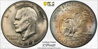 "1972 EISENHOWER ""IKE"" DOLLAR TYPE 1 PCGS MS64 TONED UNC STRIKING COLOR BU (DR)"