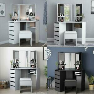 Modern Corner Dressing Table Makeup Desk w/ 5 Drawers & 3 Large Mirror +Stool